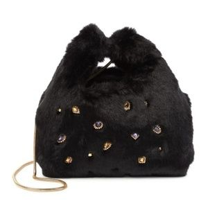 Sam Edelman Jessamy Faux Fur Jeweled Shopper Bag
